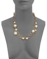 Tory Burch | Metallic Gear Faux Pearl Convertible Station Necklace | Lyst