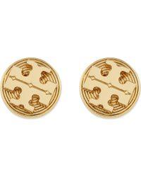 Tory Burch - Metallic Livia Stud Earrings Shiny Brass - Lyst