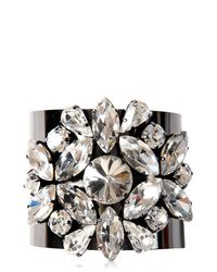 Blugirl Blumarine - Black Crystal Embellished Brass Bracelet - Lyst