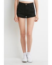 Forever 21 - Black Crochet-trimmed Denim Shorts - Lyst