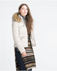 Zara | Brown Faux Fur Quilted Coat | Lyst