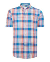 Farah | Blue Wylam Slim Fit Short Sleeve Check Shirt for Men | Lyst