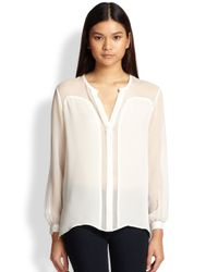Haute Hippie - Natural Silk Chiffon Sheer-Paneled Blouse - Lyst
