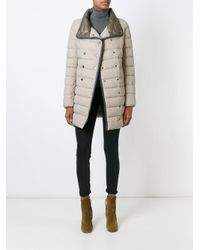 Duvetica - Natural Standing Collar Padded Coat - Lyst