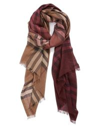 Burberry - Brown Ombre Check Wool & Silk Scarf - Lyst