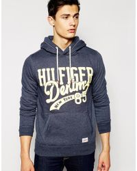 Hilfiger Denim | Gray Hoodie With Logo Print In Blue for Men | Lyst