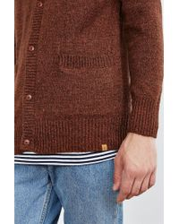 Obey - Brown Check Point Cardigan for Men - Lyst
