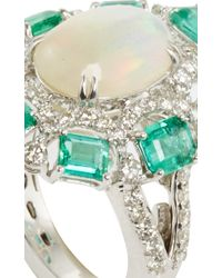 Sutra | Green White Opal And Emerald Ring | Lyst