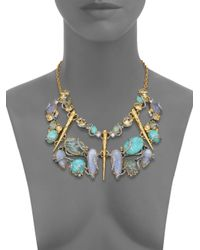 Alexis Bittar - Multicolor Elements Moonlight Amazonite, Mother-Of-Pearl & Crystal Large Articulated Bib Necklace - Lyst