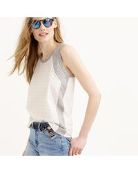 J.Crew - White Inset Embellished Tank Top - Lyst