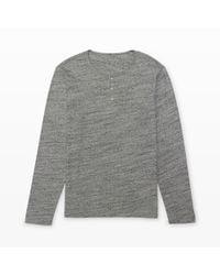 Club Monaco - Gray Long-sleeve Space-dye Henley for Men - Lyst