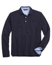 Brooks Brothers | Blue Long-sleeve Cotton Linen Polo Shirt for Men | Lyst
