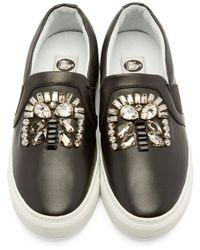 Lanvin - Black Crystal Accent Sneakers - Lyst