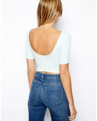 ASOS - Blue Crop Top with Half Sleeve and Scoop Back - Lyst