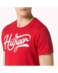 Tommy Hilfiger | Red Cotton Jersey Crew Neck T-shirt for Men | Lyst