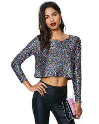 Nasty Gal | Multicolor Minkpink Glamour Glitter Top | Lyst
