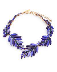 Oscar de la Renta - Blue Swarovski Crystal Leaf Necklace - Lyst