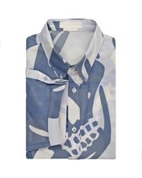 Alexander McQueen - Blue Skull Camouflage Printed Short Sleeved Shirt for Men - Lyst