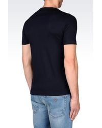 Emporio Armani - Blue T-shirt In Pima Cotton Interlock for Men - Lyst