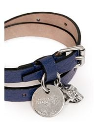 Alexander McQueen | Blue Skull Charm Double Wrap Leather Bracelet | Lyst