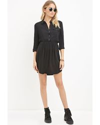 Forever 21 - Black Buttoned-pocket Shirt Dress - Lyst