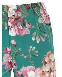 Gucci - Green Blooms Printed Silk Georgette Pants - Lyst