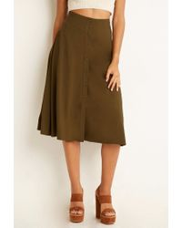 Forever 21 | Green Button-front A-line Skirt | Lyst