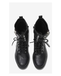 Express - Black Zip and Lace Up Biker Boots - Lyst