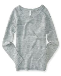 Aéropostale | Gray Long Sleeve Sheer Stripe Top | Lyst