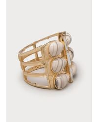 Bebe | White Marbled Stone Stretch Cuff | Lyst