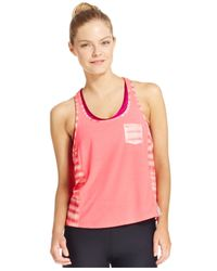 Under Armour | Pink Printed Fly-by Racerback Tank Top | Lyst