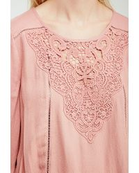 Forever 21 | Pink Crochet Overlay Peasant Top | Lyst
