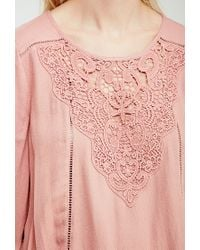 Forever 21 - Pink Crochet Overlay Peasant Top - Lyst