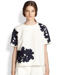 MSGM - White Embroidered Floral Lace Top - Lyst