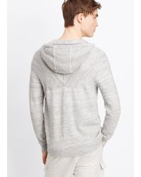 Vince - Black Sporty Jaspé Hooded Cardigan for Men - Lyst