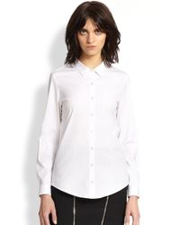 The Kooples - White Stretch Cotton Poplin Shirt - Lyst
