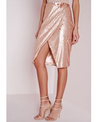 Missguided | Natural Sequin Wrap Midi Skirt Nude | Lyst