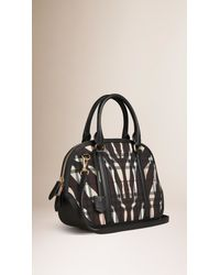 Burberry - Black The Small Orchard Animal-Print Horseferry Check Bag - Lyst