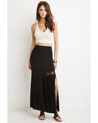 Forever 21 | Black Floral Lace Trim Maxi Skirt | Lyst