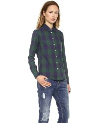 Band of Outsiders - Multicolor Large Square Plaid Easy Shirt - Navy/Green - Lyst