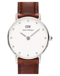 Daniel Wellington - Brown 'classy St. Mawes' Crystal Index Leather Strap Watch - Lyst