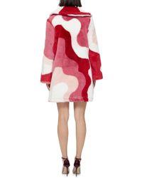 Vivetta - Pink Faux Fur Gadda Patterned Coat - Lyst