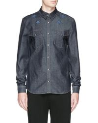 Givenchy - Blue Star Embroidery Denim Shirt for Men - Lyst