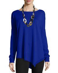 Eileen Fisher | Blue Asymmetric Merino-Wool Top | Lyst