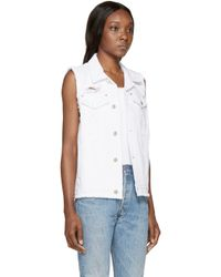 SJYP | White Distressed Denim Vest | Lyst