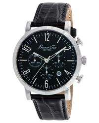 Kenneth Cole - Men'S Chronograph Black Leather Strap Watch 44Mm 10020826 for Men - Lyst