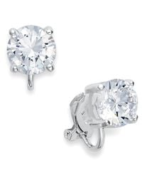 Lauren by Ralph Lauren | Metallic Silver-Tone Cubic Zirconia Clip On Earrings | Lyst