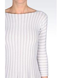 Emporio Armani - Gray Plissé Dress In Viscose Blend - Lyst