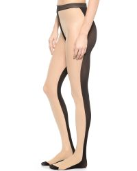 Alice + Olivia - Natural Alice + Olivia Front & Back Tights - Nude/Black - Lyst