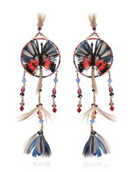 Valentino | Feather And Bead Embellished Earrings - Multicolor | Lyst
